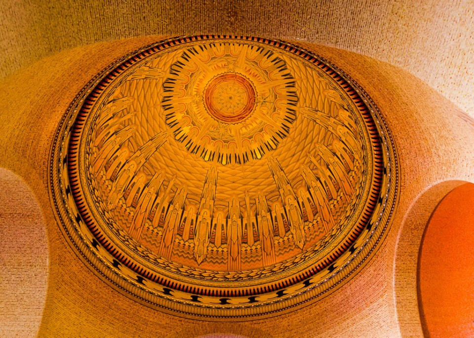 The domed  ceiling of the Hall of Memory