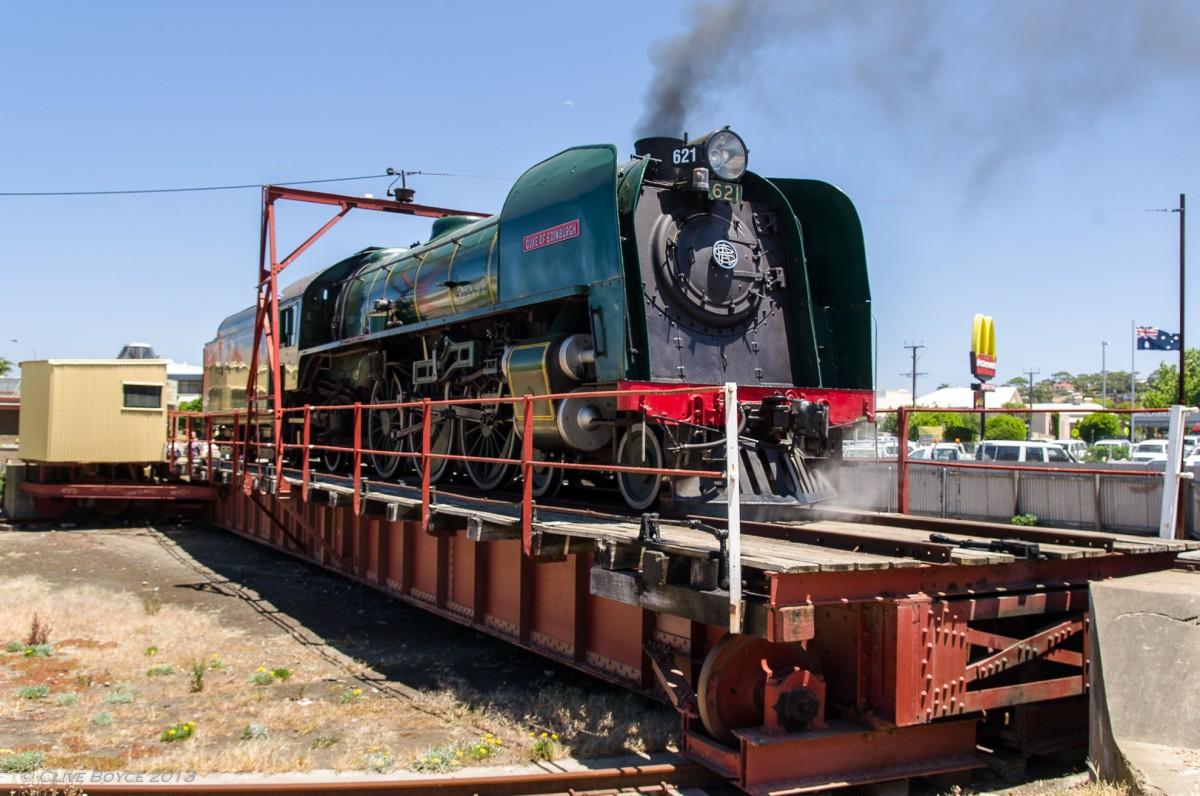 621 Duke of Edinburgh on Victor Harbor turntable