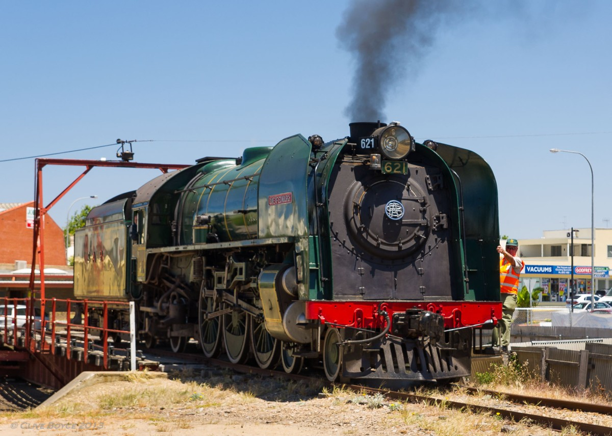 621 Duke of Edinburgh exiting Victor Harbor turntable