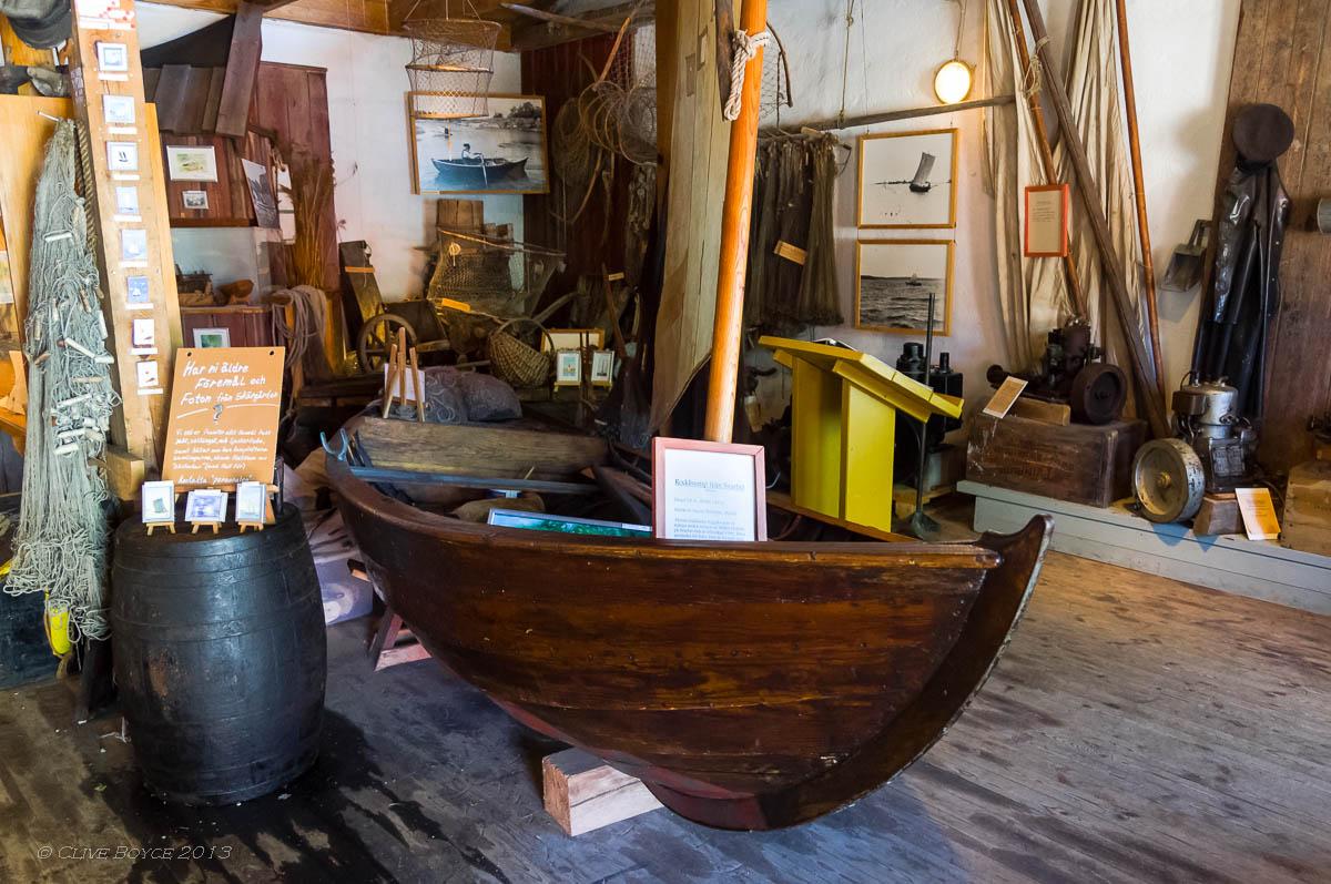 Historic fishing boat display, Fjaderholmarna, Sweden
