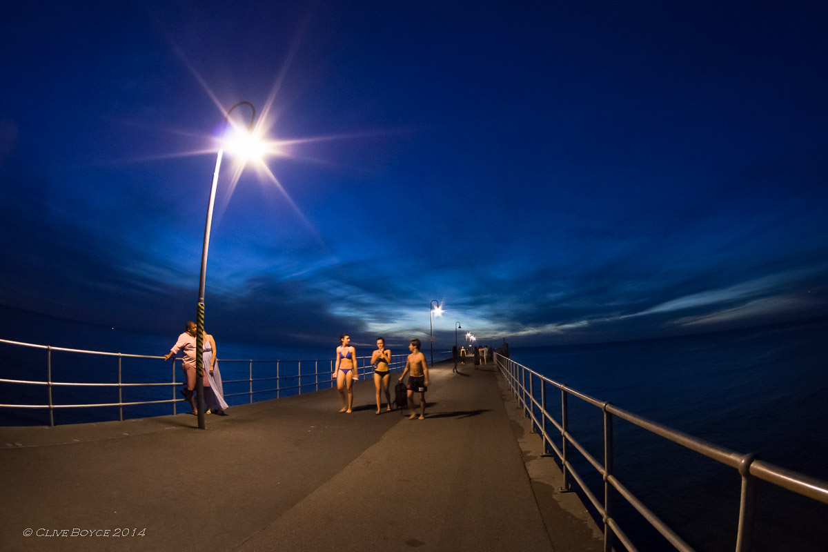 Hot summer night, Glenelg Jetty, Adelaide