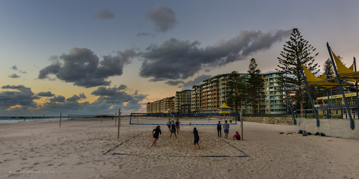 Twilight beach volleyball