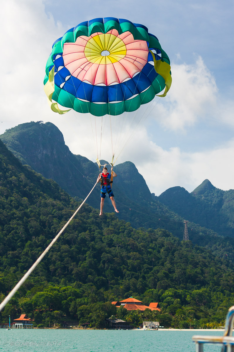 My other son's treat was to go parasailing.