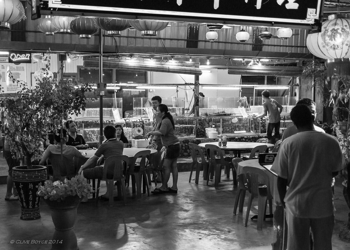Pantai Cenang street scene after dark